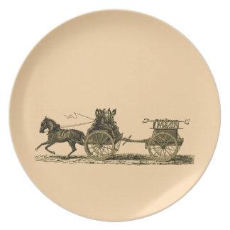 Vintages Pferd gezeichnete Feuer-Motor-Illustratio Melaminteller