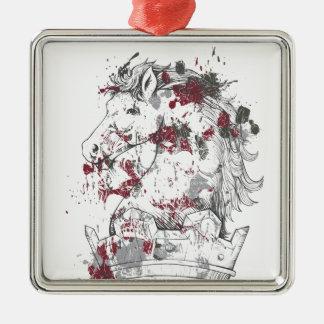 Vintages Pferd Quadratisches Silberfarbenes Ornament