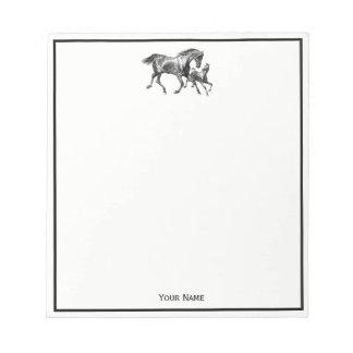Vintages Pferdemutter-Baby-Fohlen Notizblock