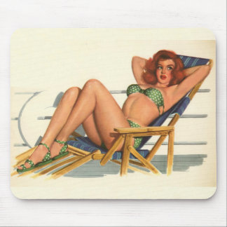 Vintages Pinup-Mädchen-ursprünglicher Farbton 22 Mousepads