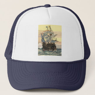 Vintages Piraten-Schiff, Galleon Segeln auf dem Truckerkappe