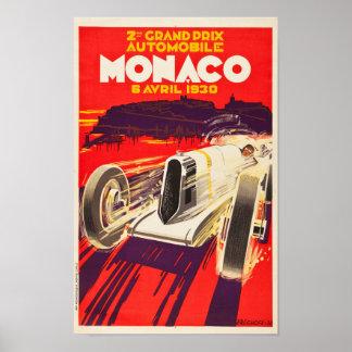 Vintages Plakat 1930 Monacos Grandprix
