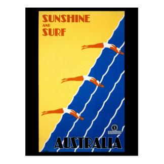 Vintages Plakat Australiens wieder hergestellt Postkarte