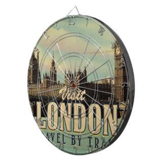 Vintages Plakat Besuchs-Londons Dartscheibe