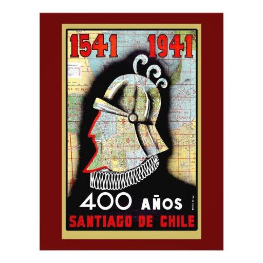 Vintages Plakat, das Chilen feiert Vollfarbige Flyer