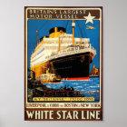 Vintages Plakat für die weiße Stern-Linie