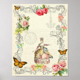 Vintages Plakat mit Rosen und Schmetterlingen