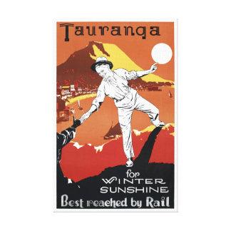 Vintages Plakat Neuseelands Tauranga wieder Leinwanddruck