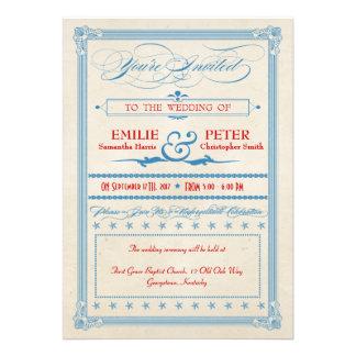 Vintages Plakat-rote weiße u blaue Hochzeit Individuelle Ankündigungen