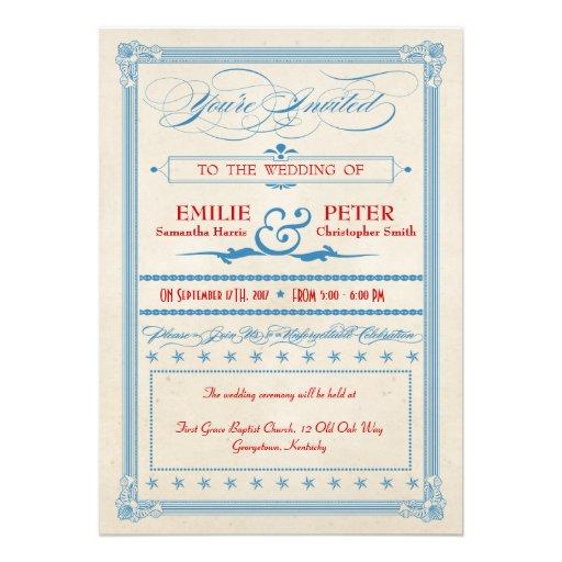 Vintages Plakat-rote, weiße u. blaue Hochzeit Individuelle Ankündigungen