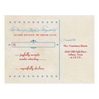 Vintages Plakat-rote weiße u blaue UAWG Postkarte
