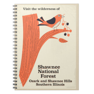 Vintages Plakat Shawnee-nationaler Waldillinois Spiral Notizblock