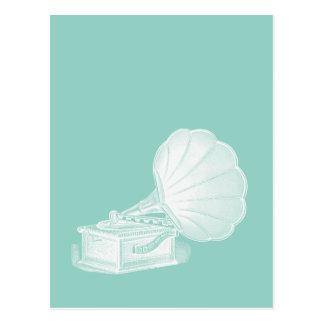 Vintages Plattenspieler-Seegrün-weißes Grammophon Postkarten