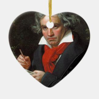 Vintages Porträt des Komponisten, Ludwig von Keramik Herz-Ornament