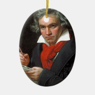 Vintages Porträt des Komponisten, Ludwig von Ovales Keramik Ornament