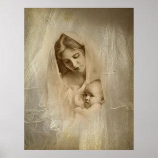 Vintages Porträt, liebevolle Mutter, die Baby-Kind Poster