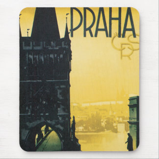 Vintages Prag-Plakat Mousepad