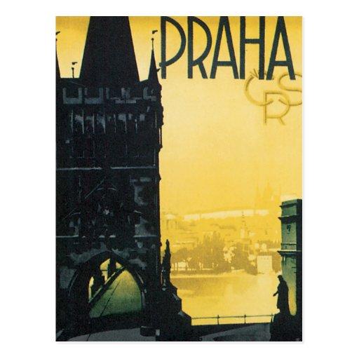 Vintages Prag-Plakat Postkarten