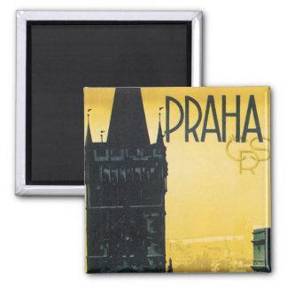 Vintages Prag-Plakat Quadratischer Magnet