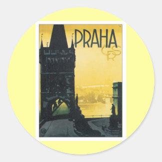 Vintages Prag Runder Aufkleber