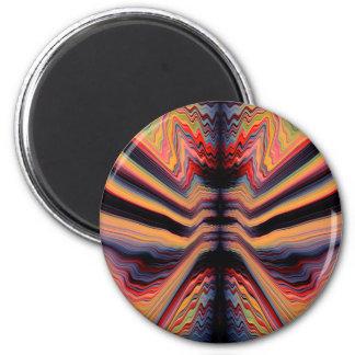 Vintages psychedelisches Muster Runder Magnet 5,7 Cm