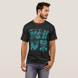 Vintages Pyrex Muster - Butterprint Türkis-Blau T-Shirt