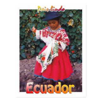 Vintages Quechua Ecuador-Postkartenmädchen Postkarte