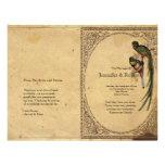 Vintages Quetzal-Vogel-elegantes Hochzeits-Program Personalisierte Flyer