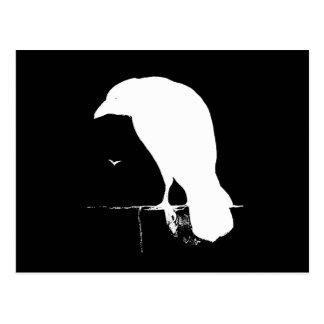 Vintages Raben-Silhouette-Weiß auf Schwarzem - Gew Postkarte
