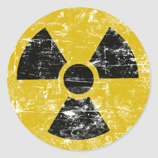 Vintages radioaktives runde sticker