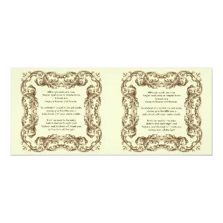 Vintages Rahmen-Baby-Buch-Gedicht 10,2 X 23,5 Cm Einladungskarte