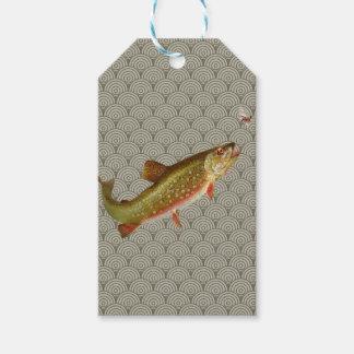 Vintages Regenbogenforelle-Fliegenfischen Geschenkanhänger