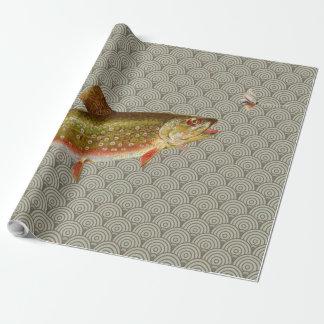 Vintages Regenbogenforelle-Fliegenfischen Geschenkpapier