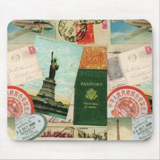 Vintages Reise-Briefmarken und -postkarten Mousepad