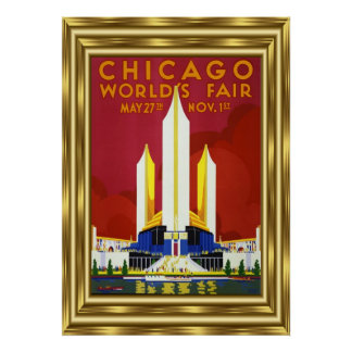 Vintages Reise-Chicago-Weltmesse-Gold Poster