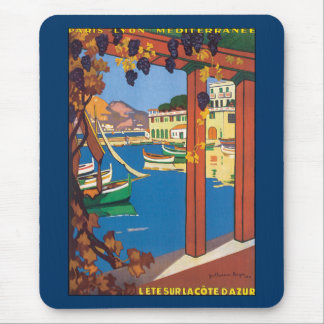 Vintages Reise-französisches Riviera-Plakat Mousepads