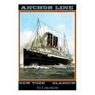 Vintages Reise-Plakat: Anker-Linie Postkarte