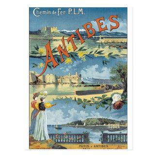 Vintages Reise-Plakat Antibes Postkarte