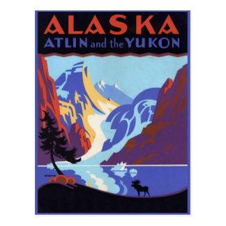 Vintages Reise-Plakat, Atlin und das Yukon, Alaska Postkarte