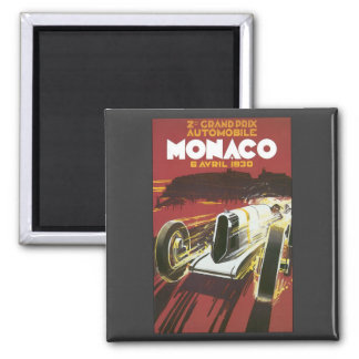 Vintages Reise-Plakat, Auto-Rennen Monacos Quadratischer Magnet