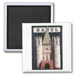 Vintages Reise-Plakat Basels Quadratischer Magnet