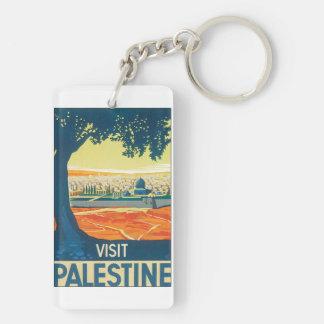 Vintages Reise-Plakat Besuchs-Palästinas Schlüsselanhänger