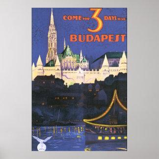 Vintages Reise-Plakat Budapests Poster