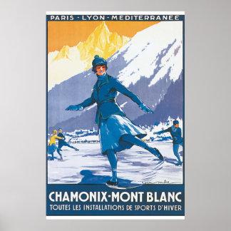 Vintages Reise-Plakat Chamonix der Montblanc Poster