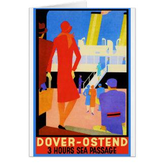 Vintages Reise-Plakat: Dover Ostende Karte
