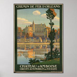 Vintages Reise-Plakat für das Chateau d'Amboise Poster