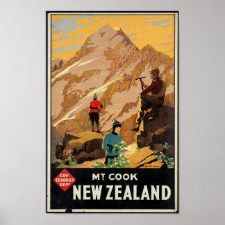 Vintages Reise-Plakat für Neuseeland Poster
