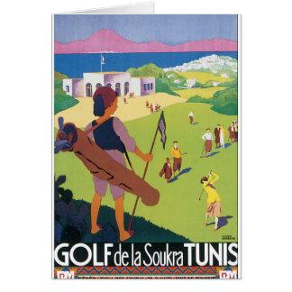 Vintages Reise-Plakat Golf de La Soukra Tunis Karte