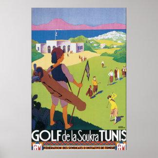 Vintages Reise-Plakat Golf de La Soukra Tunis Poster