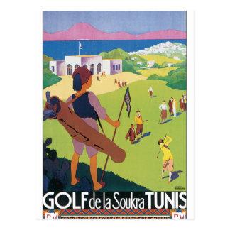 Vintages Reise-Plakat Golf de La Soukra Tunis Postkarte